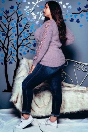 Purple plus size sweater
