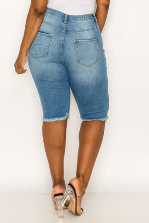 Denim Capri shorts plus size