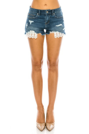 High rise denim shorts with pocket detailing