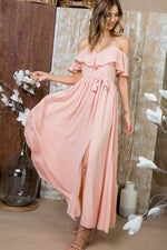 Pink ruffle maxi dress