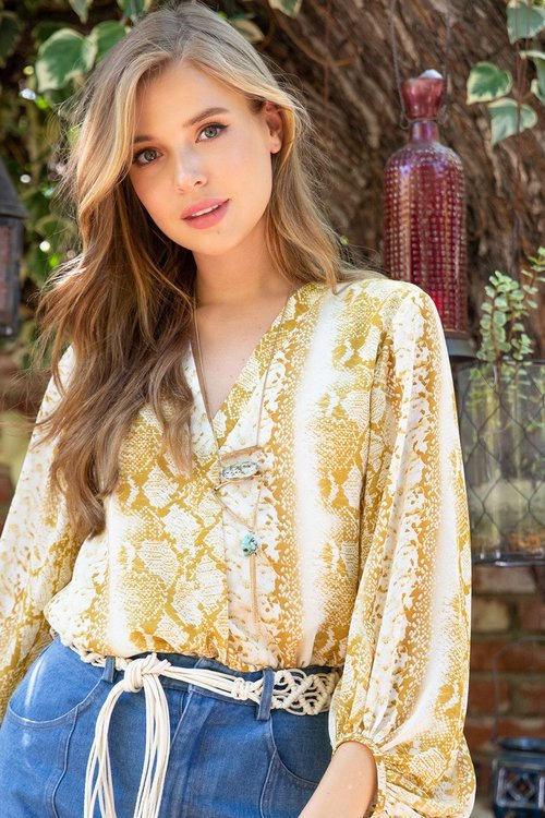 yellow snake print ling sleeve top