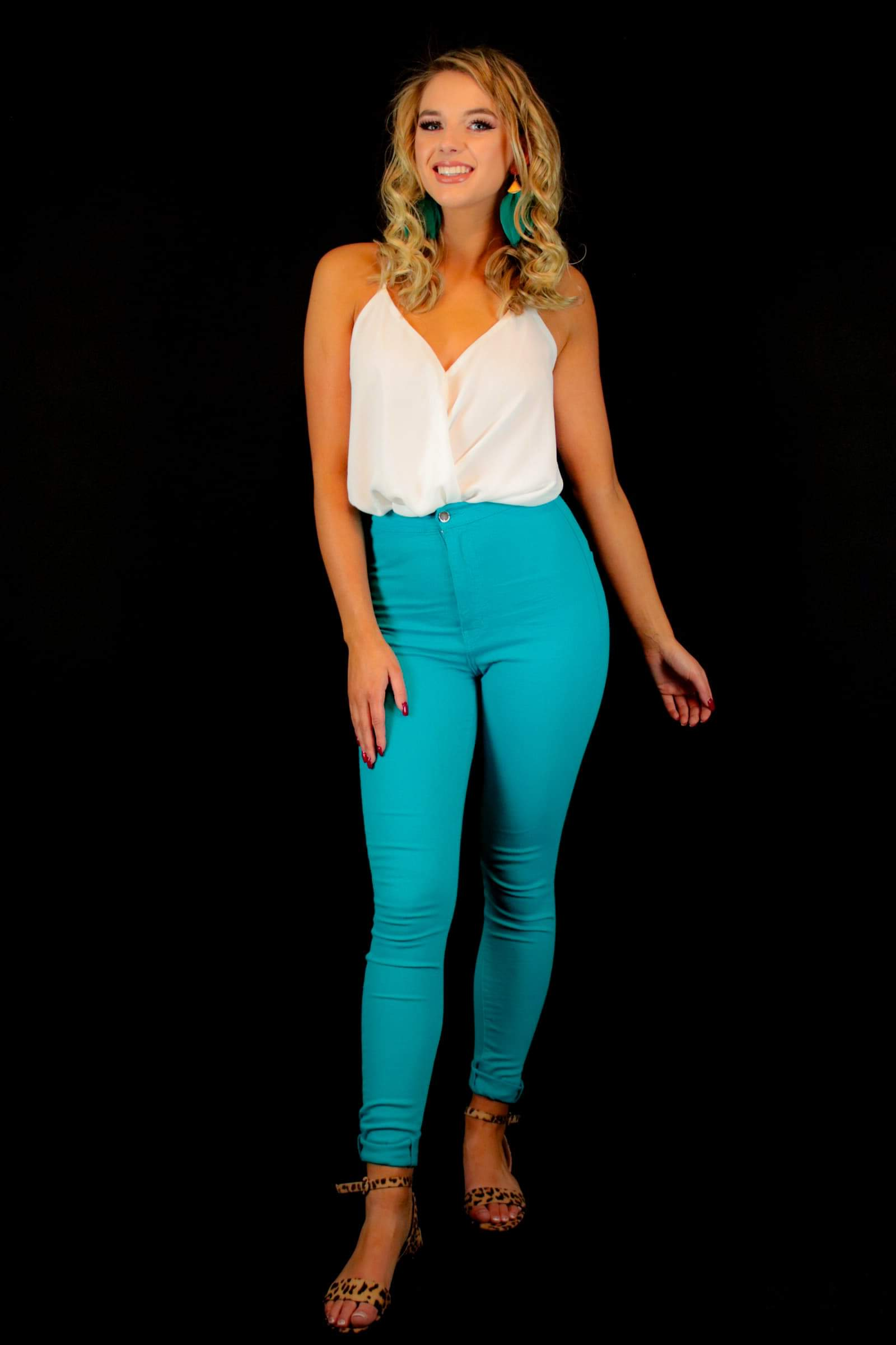Durant Turquoise High Waisted Skinny Jean