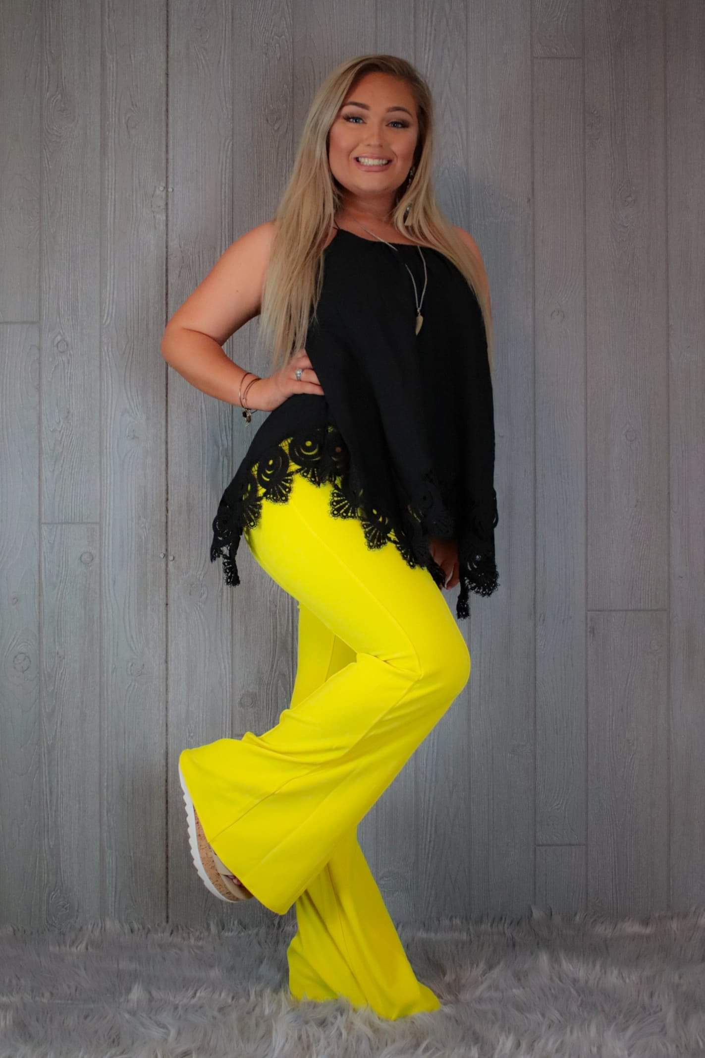 Yellow flare pants