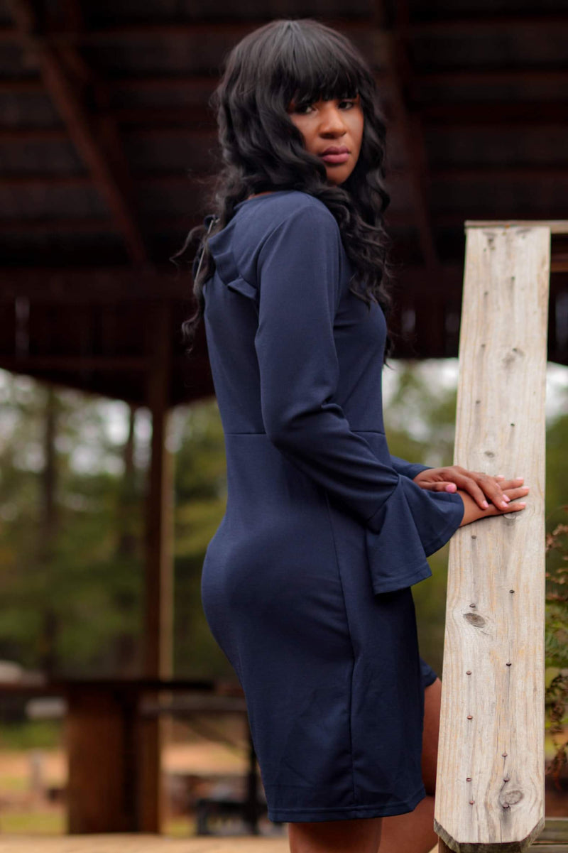 Navy winter wrap dress