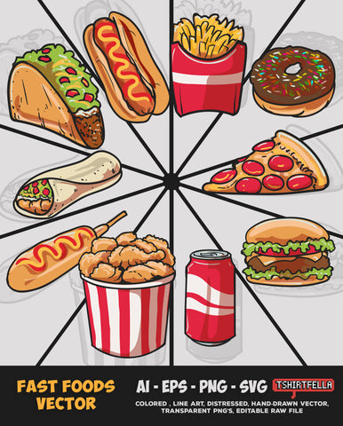 FAST FOODS VECTOR BUNDLE FOR SALE