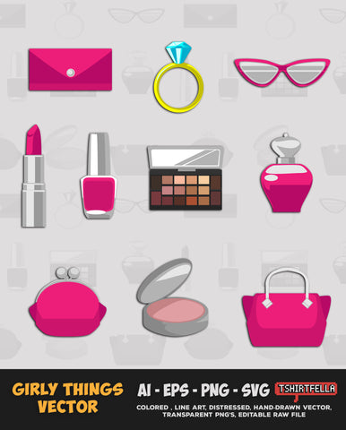 GIRLY THINGS VECTOR BUNDLE FOR SALE