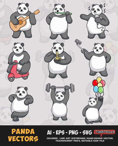 Panda Bear Vectors Bundle FOR SALE