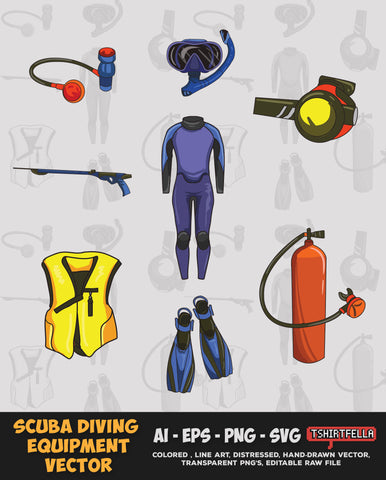 SCUBA DIVING EQUIPMENT VECTOR BUNDLE FOR SALE