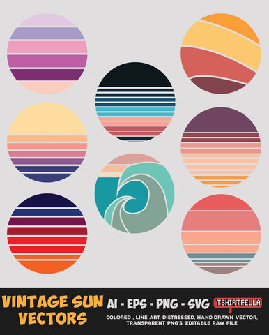 Vintage Sun Vectors Bundle FOR SALE