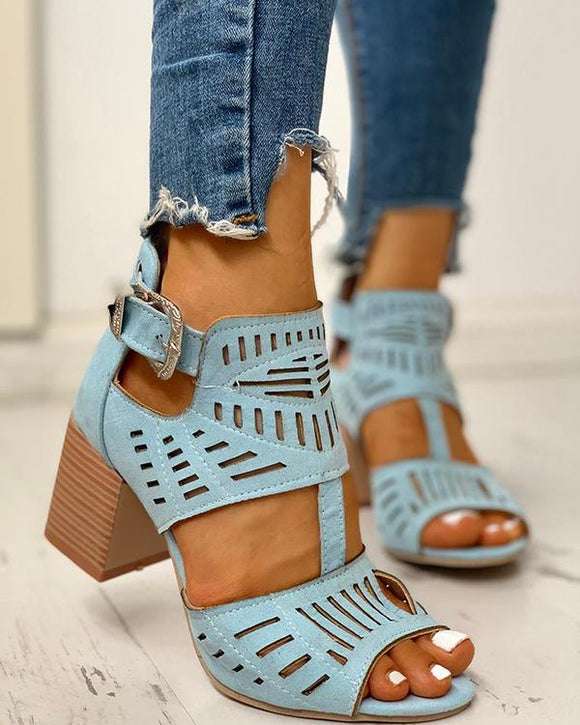 Leather Women's Block Heel Sandals