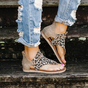 Leopard Pattern leather Rome Sandals