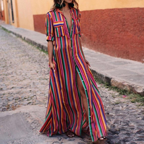 Beach Striped Colorful Dress