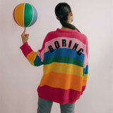 "Rainbow Colors ""BORING"" Print Sweater"