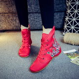 Embroidered Women Casual Cotton Short Ankle Boots