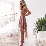 Sexy irregular Pink Lace Summer Dress