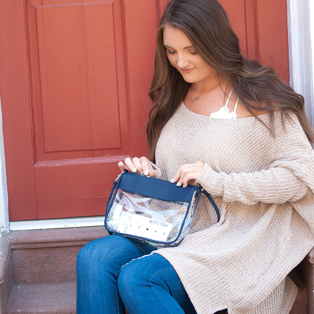 Navy Clear Purse