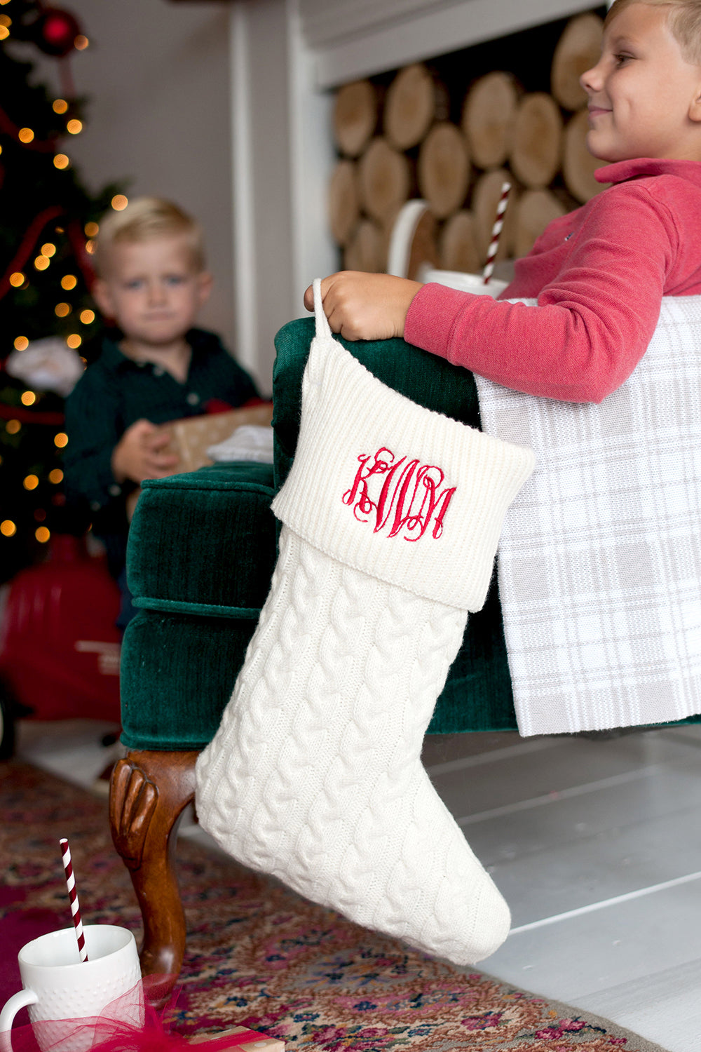 Cream Knit Christmas Stocking