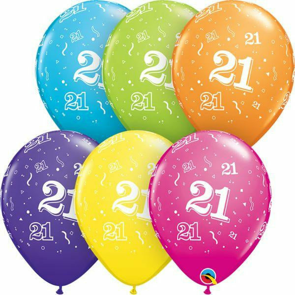 21 A Round Mixed Assortment Latex Balloon 1ct, 11""