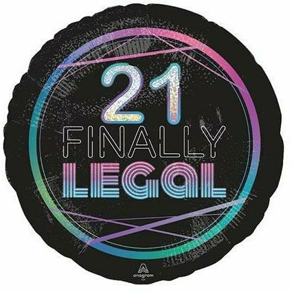 "398 21st Birthday Finally Legal Holographic 18"" Mylar Balloon"