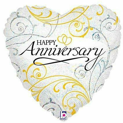"559 Happy Anniversary Gold 18"" Mylar Balloon"