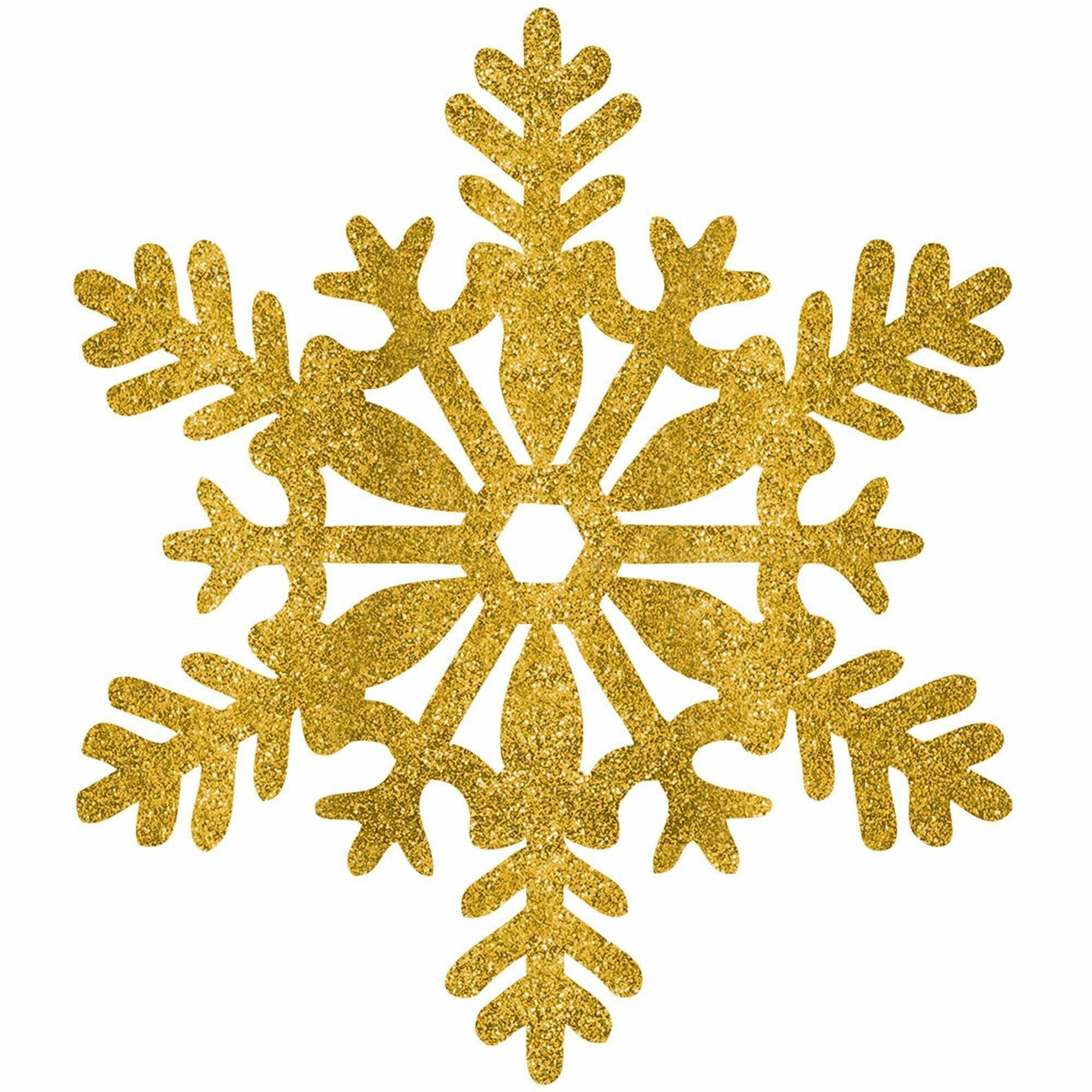 Large Glitter Plastic Snowflake Decoration - Gold