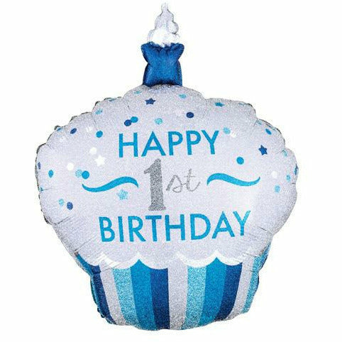 "495 Blue Cupcake Happy 1st Birthday Jumbo 36"" Mylar Balloon"