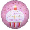 "494 Pink Cupcake Happy 1st Birthday 18"" Mylar Balloon"