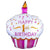"504 Pink Cupcake Happy 1st Birthday Jumbo 36"" Mylar Balloon"