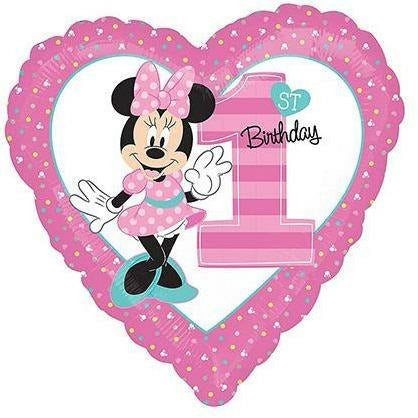 "489 Minnie Mouse 1st Birthday 17"" Mylar Balloon"