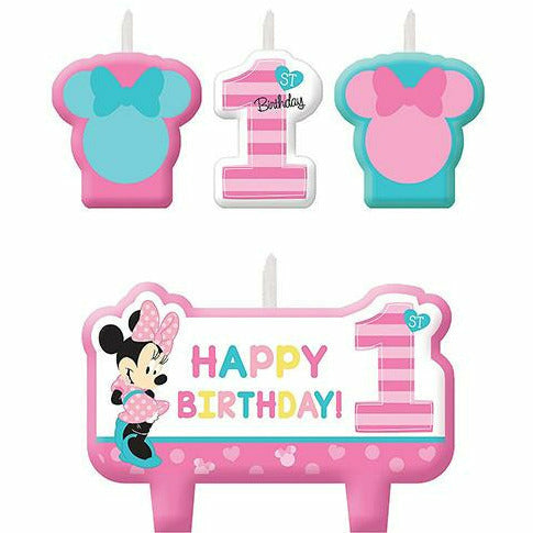 Minnie Mouse 1st Birthday Candles 4ct