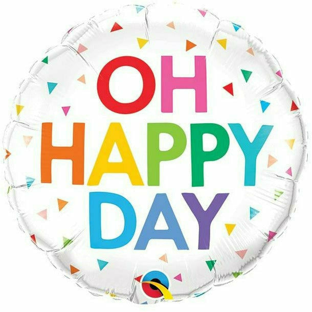 "Oh Happy Day Rainbow Confetti 18"" Mylar Balloon"