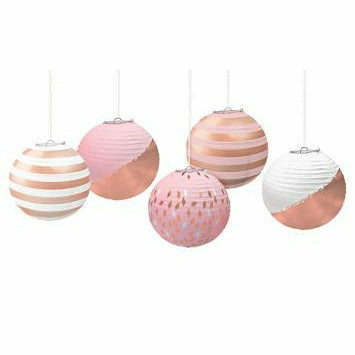 Mini Hot-Stamped Lanterns - Rose Gold/Blush