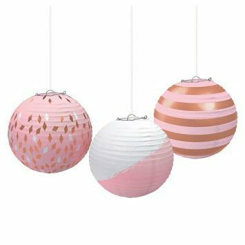 Round Paper Lanterns - Rose Gold/Blush
