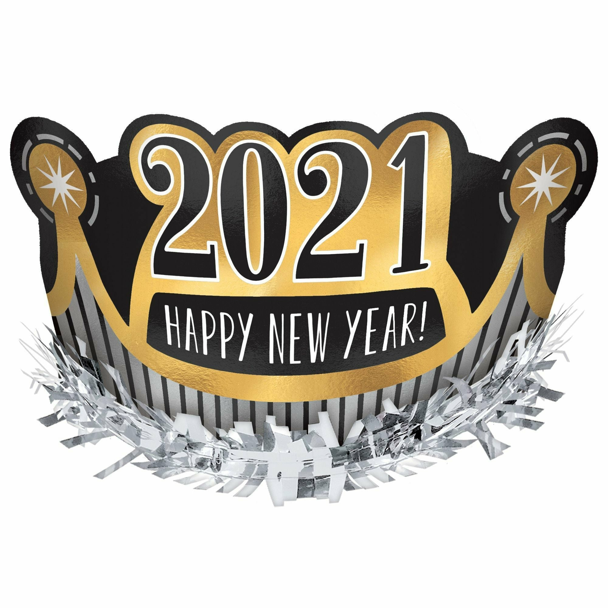 2021 Happy New Year Foil Crown - Black, Silver, Gold