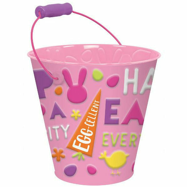 Pink Happy Easter Metal Pail