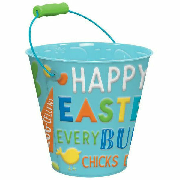 Blue Happy Easter Metal Pail
