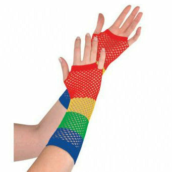 RAINBOW LONG FISHNET GLOVES