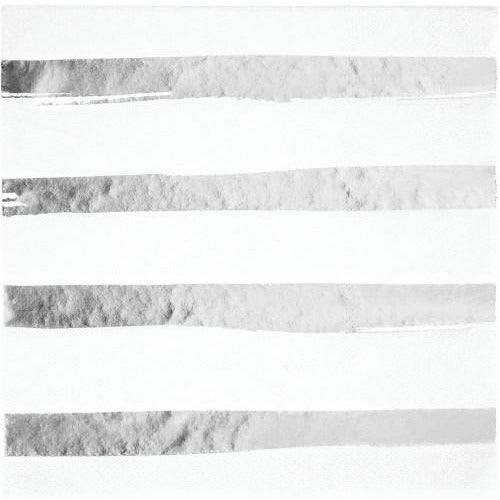 White with Silver Foil Lunch Napkins 16ct