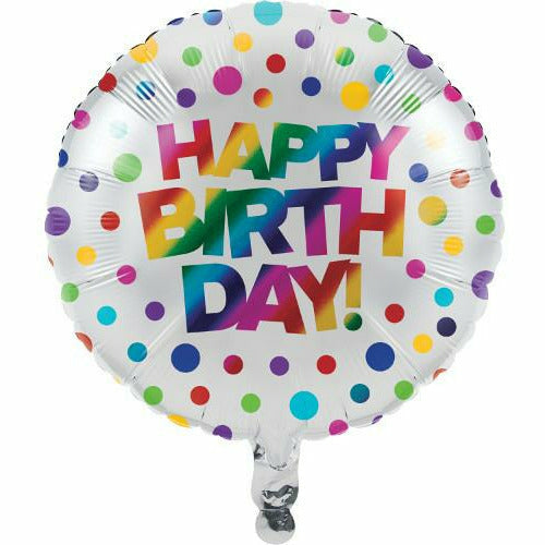 "Rainbow Foil Polka Dots Happy Birthday 18"" Mylar Balloon"