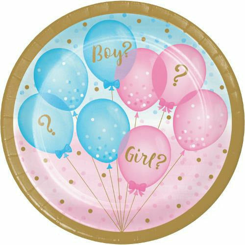 Gender Reveal Balloons Lunch Plates 8ct