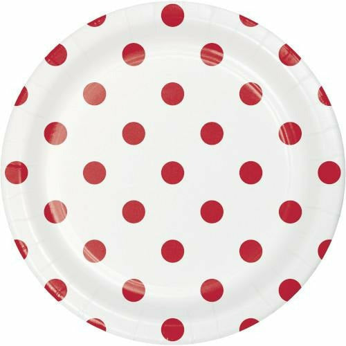 Classic Red Dots and Stripes Lunch Plates 8ct