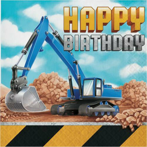 Big Dig Construction Happy Birthday Lunch Napkins 16ct