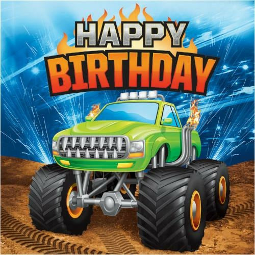 Monster Truck Rally Happy Birthday Lunch Napkins 16ct