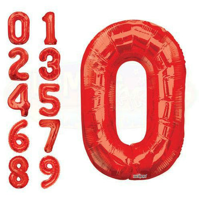 "800's 34"" Red Number Mylar Balloon"