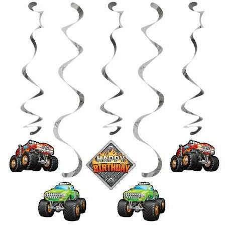 Monster Truck Rally Swirl Decorations 5ct