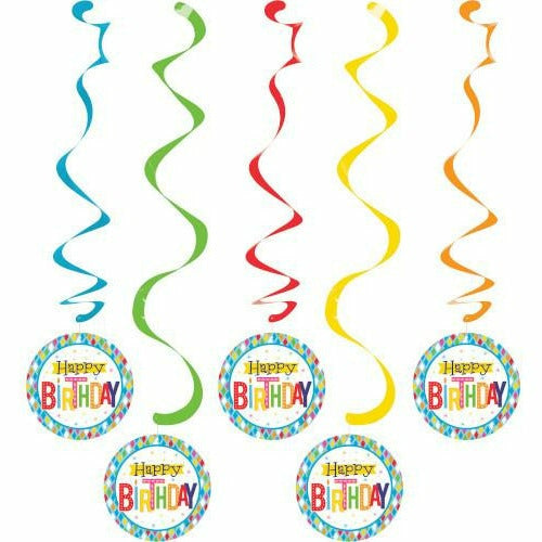 Bright Birthday Swirl Decorations