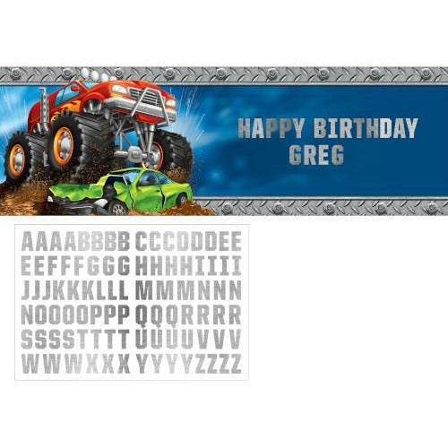 Monster Truck Rally Giant Banner with Stickers