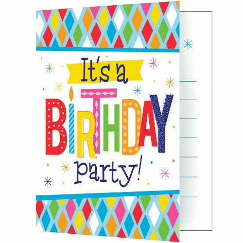 Bright Birthday Invitations 8ct