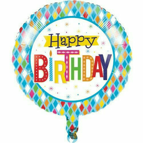 "Bright Birthday 18"" Mylar Balloon"