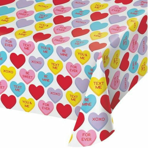 Candy Hearts Plastic Table Cover 54x108